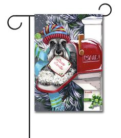 """Schnauzer Dear Santa Garden Flag: Flag Size: 12.5"""" x 18"""" Flag stand sold separately Proudly Printed in the USA Vibrant colors printed on a poly/cotton outdoor quality fabric. Digitally print"""