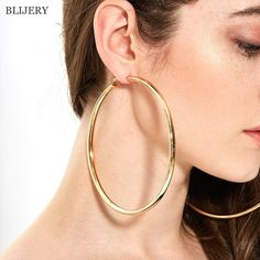 BLIJERY Fashion Oversized Big Hoop Earrings For Women Basketball Brincos Large Thick Round Circle Earrings Hoops Punk Jewelry|Hoop Earrings| - AliExpress Big Gold Hoop Earrings, Circle Earrings, Round Earrings, Women's Earrings, Fashion Earrings, Fashion Jewelry, Women Jewelry, Gold Fashion, Style Fashion