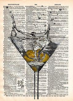 Martini splash art print, Martini art Martini bar, cocktail art print, mancave art
