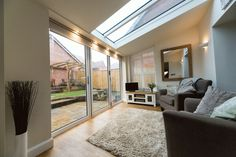 Create a perfect conservatory extension. Find small conservatory ideas and modern conservatory inspiration on our website. Contact us for conservatory prices. Conservatory Ideas Sunroom, Conservatory Prices, Tiled Conservatory Roof, Conservatory Interiors, Conservatory Extension, Garage Extension, House Extension Design, Extension Ideas, Glass Extension