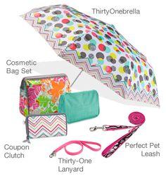 New Spring 2013 Catalog!!!!  Cosmetic Bag Set, Coupon Clutch, ThirtyOnebrella, Thirty-One Lanyard, and Perfect Pet Leash.