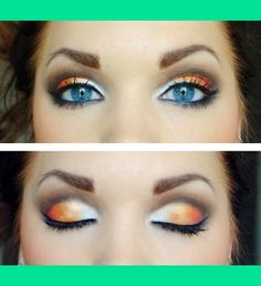 Love the use of orange to make blue eyes pop!!
