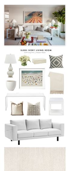 Copy Cat Chic: Copy Cat Chic Room Redo | Sleek Ivory Living Room by @audreycdyer