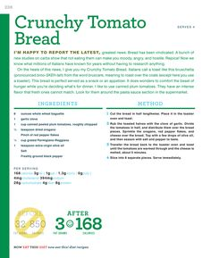 Rocco DiSpirito: The Crunchy Tomato Bread recipe! Simply Recipes, New Recipes, Favorite Recipes, Healthy Recipes, Healthy Appetizers, Appetizer Recipes, Now Eat This, Cocina Light, Tomato Bread