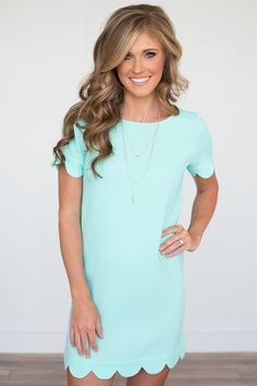 It Girl Scallop Trim Short Sleeve Dress - Mint