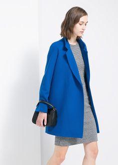Lapel wool-blend coat
