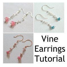 Earring Tutorial, How To Make Earrings, Jewelry Patterns, Vines, Digital, Creative, Flowers, Shop, Fun