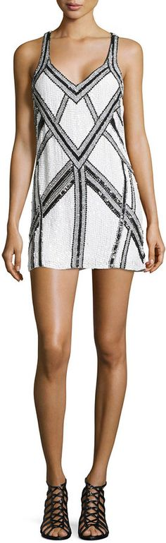Parker Benny Sequined Dress, White