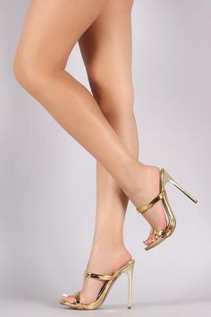 Shoe Republic LA Patent Two Band Stiletto Heel - Beauty & Bronze Clothing and Accessories