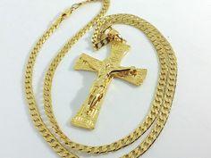 Collana Ciondolo Croce Oro Uomo Donna Crocifisso con cristo Gioielli Unisex