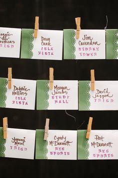 fabric escort cards - green & white wedding