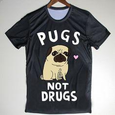 T-shirts Sweet-Tempered Novelty Harajuku Design Womens T Shirt Black And Fawn Pug Puppies T-shirt Hipster Cute Girl Top Tee Tops & Tees