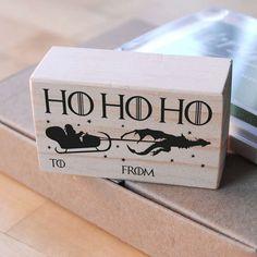 Christmas stamp Game of Thrones, ho ho ho stamp, game of thrones stamp, to from stamp, christmas gift tags, christmas DIY, santa claus stamp
