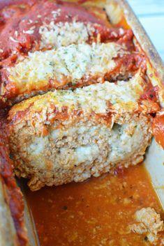 Ground Chicken Casserole, Ground Chicken Meatloaf, Chicken Parmesan Meatloaf, Chicken Loaf, Ground Chicken Recipes, Healthy Chicken Recipes, Cooking Recipes, Beef Recipes, Easy Meatloaf