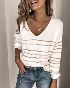 Striped Print V-neck Knitted Sweater Women Plus Size Long Sleeve Tops Pullover Casual Autumn Winter Pull Sweaters Jumper Warm Sweaters, Casual Sweaters, Sweaters For Women, Striped Sweaters, Jersey Casual, Style Casual, Casual Wear, White Casual, Striped Knit