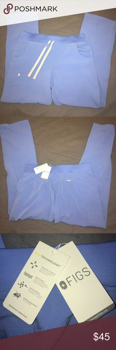 NWT FIGS Scrubs Women's Kade Cargo Pant Ceil Blue These are amazing and extremely comfortable, but too large for me after losing weight.  I also have the matching top in my closet.  Bundle to save! FIGS Pants Straight Leg