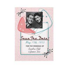 Fab Fifties Save The Date Photo Card Invitations by vintageweddinginvite