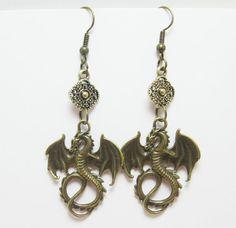 Bronze Fantasy Dragon Charm Earrings Steampunk by WhispySnowAngel, $14.99