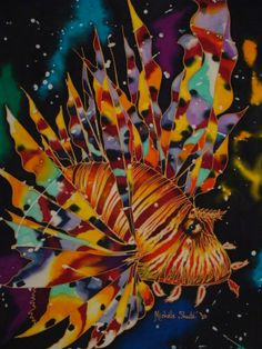 I am addicted to painting Lion Fish. I love their beautiful floaty fins and wonderful vibrant colours. 2010