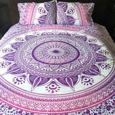 Ombre Mandala Duvet Cover 2 Matching Pillowcases Boho Quilt Cover &... ($60) ❤ liked on Polyvore featuring home, bed & bath, bedding, duvet covers, grey, home & living, gray bedding, gray queen bedding, queen pillow cases and gray duvet