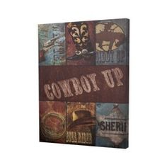 "Cowboy Up Wall Art 14""x1.25"""