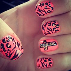 Cheetah-Zebra #cross #nails