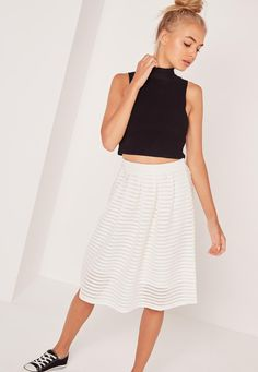 Missguided - Rib Mesh Stripe Midi A Line Skirt White