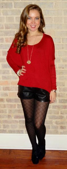 Red top, black leather shorts, fishnet shorts, black booties - Studio 3:19