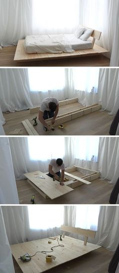 Make This DIY Modern Wood Platform Bed This tutorial for a DIY modern platform bed teaches you how to create a simple wood bed frame with easy to foll Simple Wood Bed Frame, Diy Bed Frame, Wood Bed Frames, Pallet Wood Bed Frame, Minimal Bed Frame, Build Bed Frame, Canopy Frame, Timber Frames, Modern Platform Bed