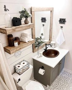 What do you think of this cute modern farmhouse bathroom? (Modern decor house interior design, modern decor inspiration design trends, modern home decor grey colour schemes, modern decor inspiration bathroom makeover. Downstairs Bathroom, Master Bathroom, Bathroom Modern, Cute Bathroom Ideas, Rustic Bathroom Decor, Bathroom Trends, Small Bathroom Ideas On A Budget, Bathroom Shelves Over Toilet, Bathroom Remodel Small