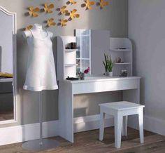SEA336 Masă de toaletă fără scaun, cu rafturi laterale http://www.emobili.ro/cumpara/sea336-set-masa-alba-toaleta-cosmetica-machiaj-oglinda-masuta-vanity-783 #eMobili