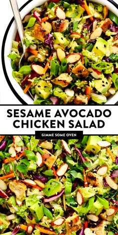This Sesame Chicken Salad recipe is made with crisp cole slaw and carrots, zesty chicken, crunchy toasted almonds, creamy avocado, lots of fresh cilantro and a quick sesame soy vinaigrette. Sesame Chicken Salad Recipe, Chicken Salad Recipes, Salad Chicken, Oven Chicken, Avocado Chicken Salads, Healthy Salad With Chicken, Salads With Meat, Salad With Avocado, Healthy Sides For Chicken