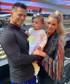 Mike & Maryse with their daughter Monroe Maryse Wwe, The Miz And Maryse, Maryse Ouellet, Wrestlemania 35, Wwe Couples, Wwe Wallpapers, Wrestling Divas, Total Divas, Wwe Divas