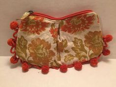 Kim White Pom Pom Bag Vintage Floral Fabric Clutch Orange Gold Floral Purse  #KIMWHITE