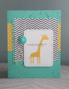 Welcome Baby card // Stampin Up 'Zoo Babies' giraffe stamp // grey chevron, yellow & turquoise, twine