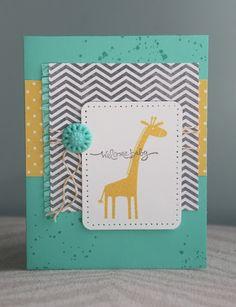 Welcome Baby card // Stampin Up 'Zoo Babies' giraffe stamp // grey chevron, yellow & turquoise, twine