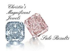 A Cushion-Cut Fancy Vivid Blue Diamond Ring of 3.81ct and A Rectangular-Cut Fancy Intense Pink Diamond Ring of 8.77ct  Photo courtesy of Christie's