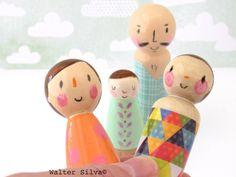 Image of Modern Trendy Doodle Peg Dolls