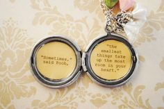 Women's Locket - Friendship Jewelry - Winnie the Pooh Quote - Sometimes the smallest things take up the most room in your heart. $29.00, via Etsy.