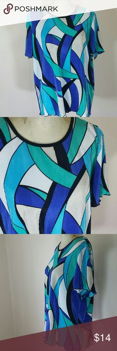 Alfred Dunne Bright Abstract Flowy Blouse Top Lots of Vibrant colors happening with this absract Alfred Dunner Top. The fabric is made from all polyester making this shirt light and breeze. In very good condition. Alfred Dunner Tops Blouses