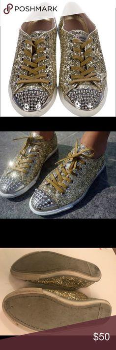 a11b66e479d Miu miu glitter sneakers Miu miu Gold glitter sneakers with studds Miu Miu  Shoes Sneakers Miu