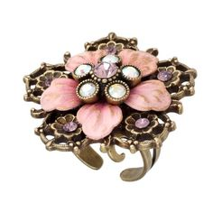 Michal Negrin Lovely Ring with Hand-Painted Flowers, White and Pink Swarovski Crystals