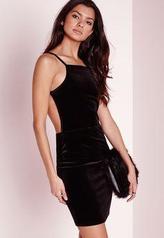 Velvet Strappy Open Back Bodycon Dress Black - Dresses - Bodycon Dresses - Missguided