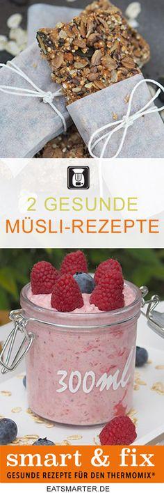 Zwei Müslirezepte für den Thermomix: Himbeer Bircher Müsli und Müsliriegel. Kernig, eiweißreich und gesund. Jetzt auf eatsmarter.de entdecken.