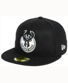 New Era Milwaukee Bucks Black White 59FIFTY Cap - Black 6 7/8