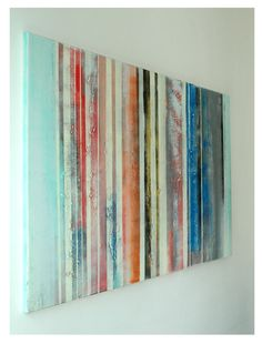 Large Abstract Schilderij  Striped colors  Acrylic by RonaldHunter, $299.00