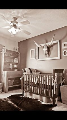 Western Themed Baby Nursery I Love The Framed Skull