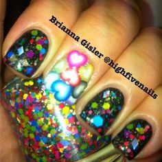 Candy Land glitter topper swatched by Highfivenails.