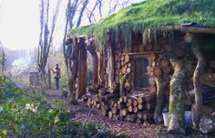 made with cobwood and a straw-insulated sod roof.
