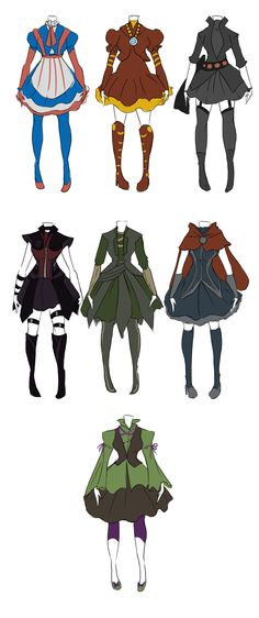 Avengers inspired dresses, full set without the accessory breakdown.